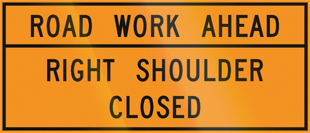 work ahead: Road sign used in the US state of Virginia - Road work ahead. Stock Photo