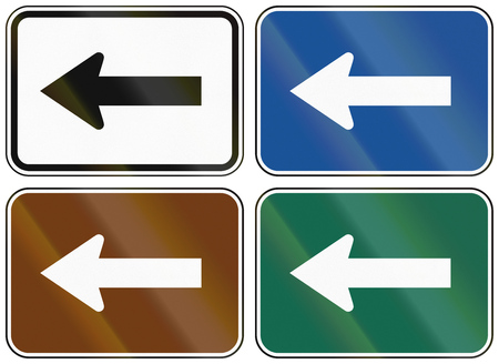 auxiliary: Collection of lane direction signs of the United States MUTCD. Stock Photo