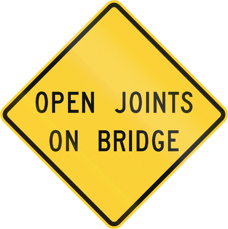 open road: Road sign used in the US state of Virginia - Open joints on bridge. Stock Photo