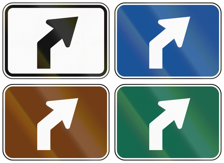 lane: Collection of lane direction signs of the United States MUTCD. Stock Photo