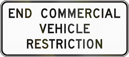 commercial vehicle: Road sign used in the US state of Virginia - End commercial vehicle restriction. Stock Photo