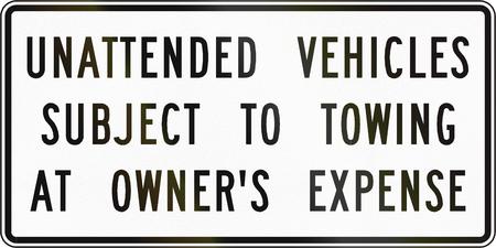 道路標識は、米国バージニア州 - でけん引を受ける無人車両を使用します。