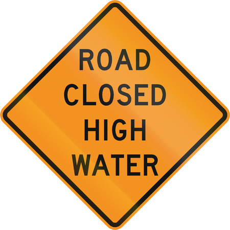 road closed: Road sign used in the US state of Virginia - Road closed high water. Stock Photo
