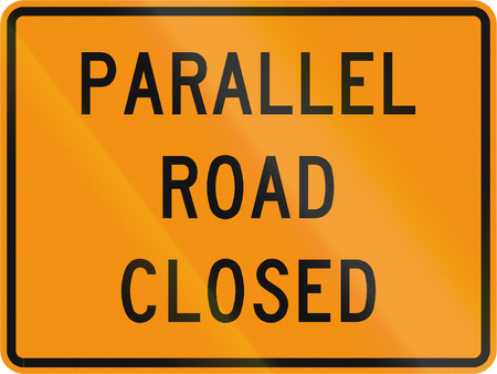 road closed: Road sign used in the US state of Virginia - Parallel road closed. Stock Photo