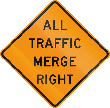 roadworks: Road sign used in the US state of Virginia - All traffic merge left.