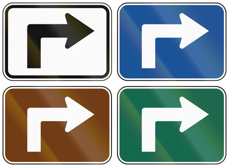 informational: Collection of lane direction signs of the United States MUTCD. Stock Photo
