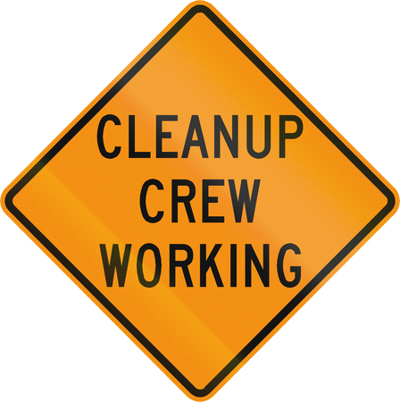 crew: Road sign used in the US state of Virginia - Cleanup crew working. Stock Photo