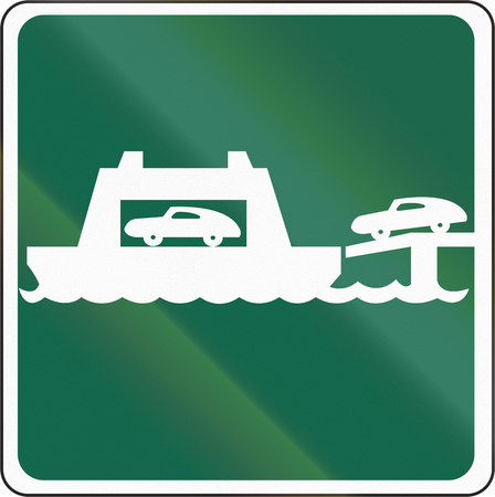 ferry: Road sign used in the US state of Washington - Car ferry. Stock Photo