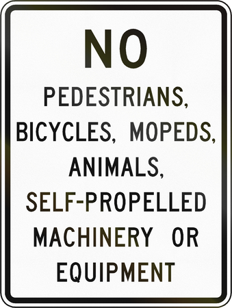prohibitions: Road sign used in the US state of Virginia - Vehicle prohibitions. Stock Photo