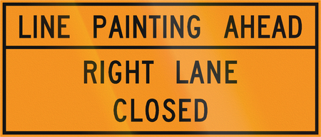 roadworks: Road sign used in the US state of Virginia - Line painting ahead.