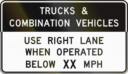 use regulation: Road sign used in the US state of Virginia - Trucks and combination vehicles.