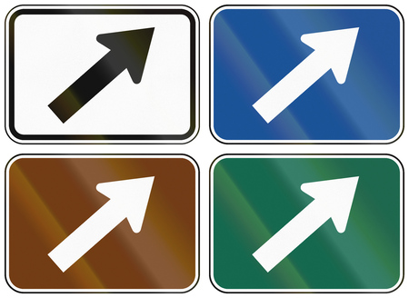 direction signs: Collection of lane direction signs of the United States MUTCD. Stock Photo