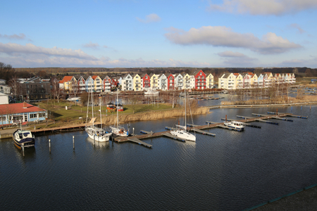greifswald: Overview over the Hanseatic city of Greifswald with the river Ryck.