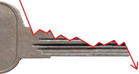 side keys: Side view of a key symbolizing a decline or negative trend.