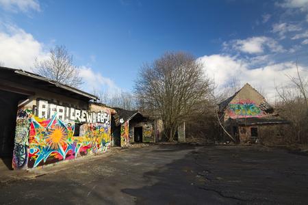 greifswald: GREIFSWALD, GERMANY - FEBRUARY 29 2016 : Abandoned building with graffiti.