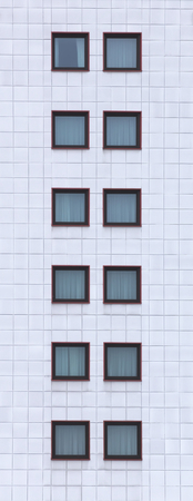 window panes: High image of facade with window panes.
