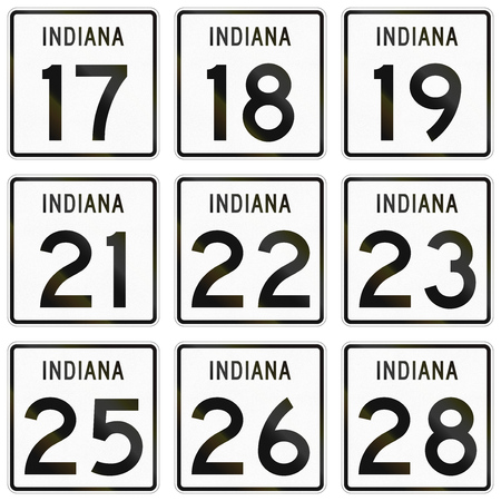18 19: Collection of Indiana Route shields used in the United States.