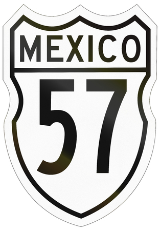 57: Route shield of the Mexican Federal Highway. Stock Photo