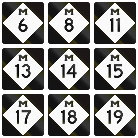 number 13: Collection of Michigan Route shields used in the United States.