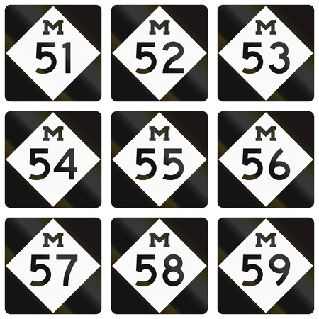 57: Collection of Michigan Route shields used in the United States.