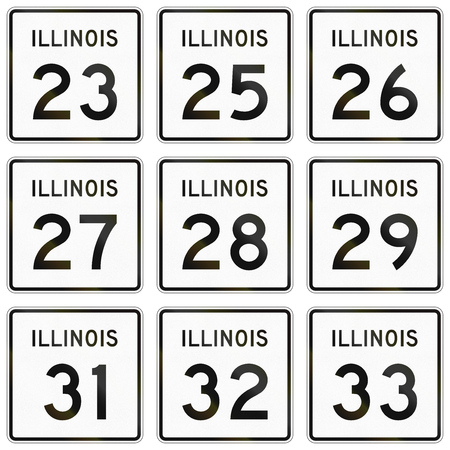 quadratic: Collection of Illinois Route shields used in the United States. Stock Photo