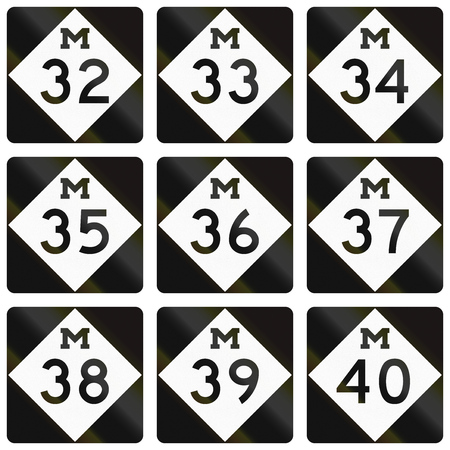 34: Collection of Michigan Route shields used in the United States.