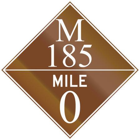 mile: Michigan Route shield of the M-185 at mile zero. Stock Photo