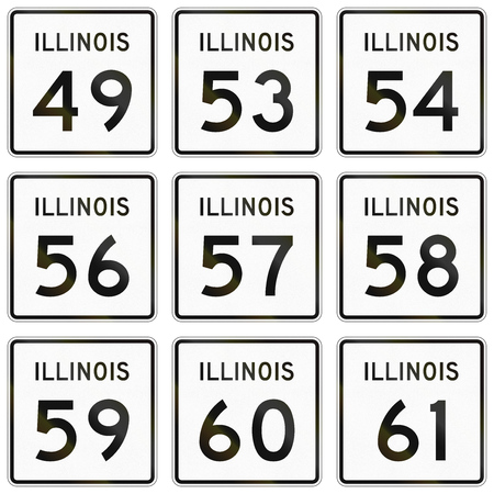 57: Collection of Illinois Route shields used in the United States. Stock Photo