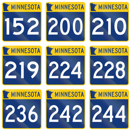 quadratic: Collection of Minnesota Route shields used in the United States. Stock Photo