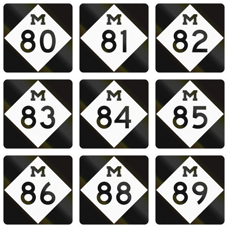 80 85: Collection of Michigan Route shields used in the United States.