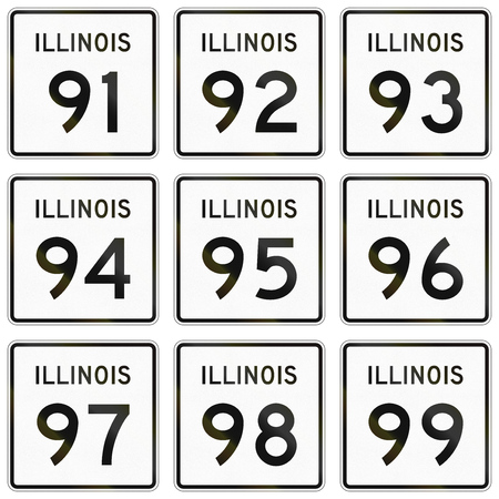 99: Collection of Illinois Route shields used in the United States. Stock Photo