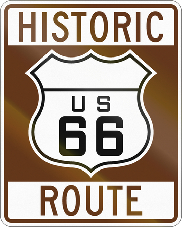 historic: United states Route shield of the historic Route 66.