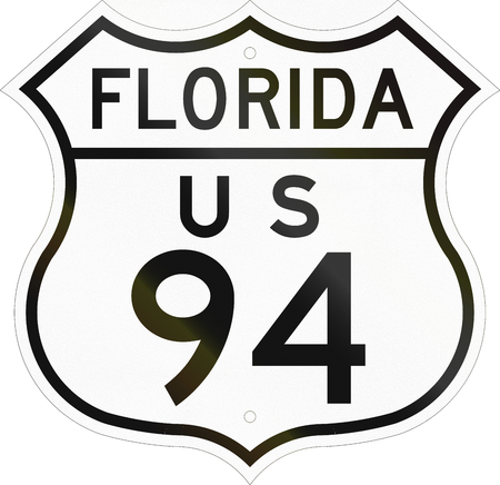 historic: Historic Florida Highway Route shield from 1948 used in the US. Stock Photo