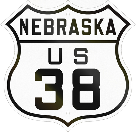 historic: Historic Nebraska Highway Route shield from 1926 used in the US. Stock Photo