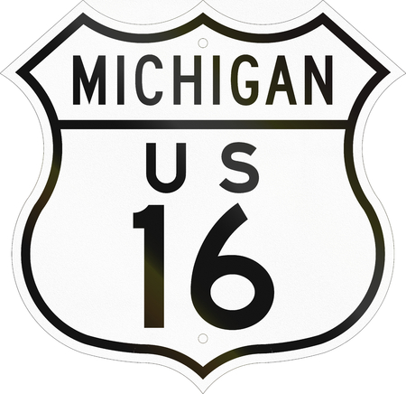 historic: Historic Michigan Highway Route shield from 1948 used in the US.