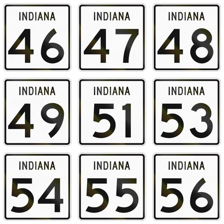 indiana: Collection of Indiana Route shields used in the United States.