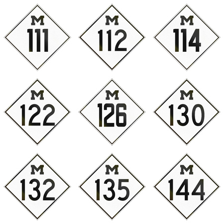 historic: Collection of historic Michigan Route shields used in the United States.