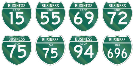 spur: Collection of Interstate business loop and business spur shields used in the US.