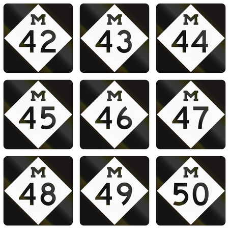 quadratic: Collection of Michigan Route shields used in the United States.