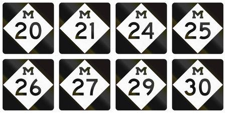 24 26: Collection of Michigan Route shields used in the United States.