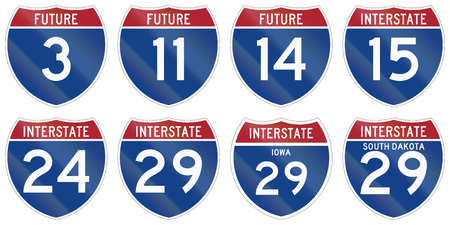 interstate: Collection of Interstate highway shields used in the US. Stock Photo