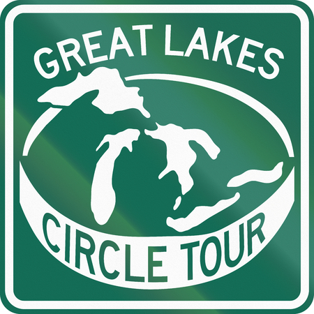 the great lakes: Route marker for the Great Lakes Circle Tour in the US. Stock Photo