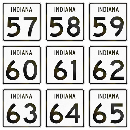 57: Collection of Indiana Route shields used in the United States.