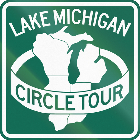 the great lakes: Route marker for the Lake Michigan Circle Tour. Stock Photo