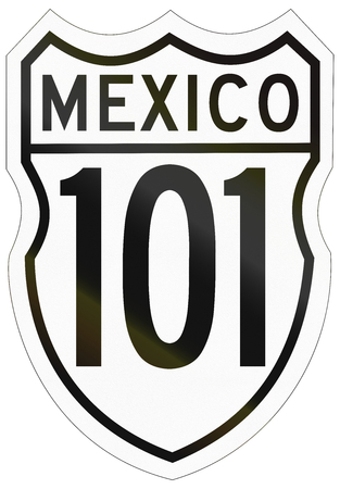 federal: Route shield of the Mexican Federal Highway. Stock Photo