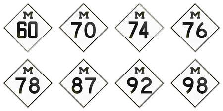 92: Collection of historic Michigan Route shields used in the United States.