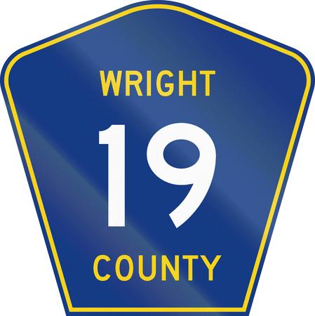 wright: Minnesota county-designated highway shield - Wright County. Stock Photo