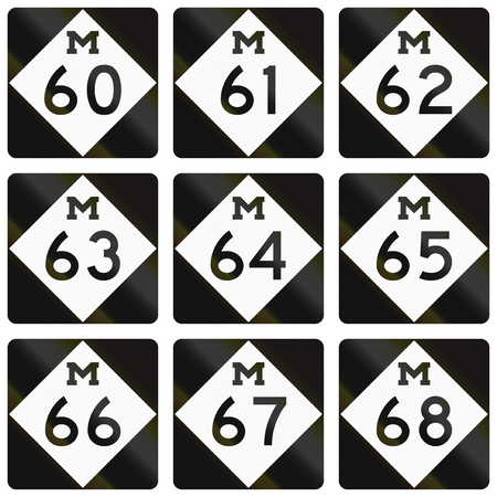 lozenge: Collection of Michigan Route shields used in the United States.
