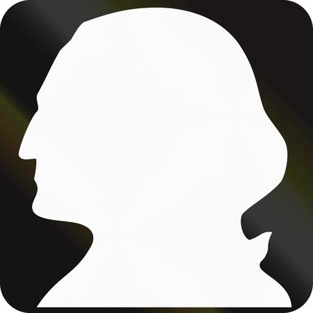 george washington: En blanco escudo Ruta del estado de Washington con una silueta de George Washington.