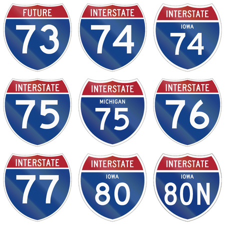 75 80: Collection of Interstate highway shields used in the US. Stock Photo